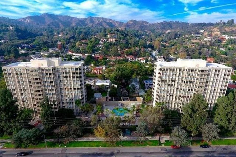 The Los Feliz Towers & Griffith Park with historical observatory beyond